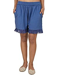 9teenAGAIN Women's Hosiery Solid Shorts (Blue)