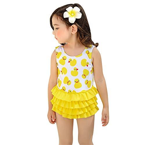 SHRCASE-SWBI Kinder Mädchen Badeanzug Mädchen Badeanzüge Ente Druckmuster Rüschen Bademode Strand Badeanzug Strandbadeanzug für Kleinkinder (Farbe : Gelb, Größe : (Kleinkind Gelbe Ente Kostüm)