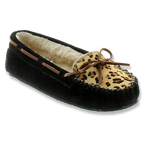 Minnetonka Leopard Cally Slipper, Chaussons Femme Black Suede