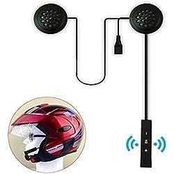 Casque de moto casque audio, anti-interférences casque de moto Intercom de casque sans fil Bluetooth Headset, casque écouteurs, haut-parleurs mains libres, musique contrôle d'appel
