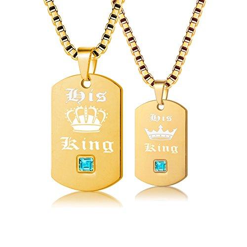 Uloveido 2 Stück Gay Pride Halsketten Set für Männer und Frauen - Hundemarke Gold Titan Edelstahl Box Kette Halsketten mit Charm Anhänger Sein König SN127