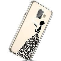 Handyhülle Samsung Galaxy A8 Plus 2018 Durchsichtig Silikon Schutzhülle Kratzfeste Kristall Transparent Silikonhülle Ultra Dünn Case Handytasche TPU Bumper Backcover Schale Etui,Frauen Schmetterling