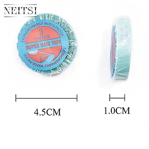 Neitsi® 1rouleau ruban adhésif double face Super Bleu Rouleau 3M Extension pour cheveux bandes