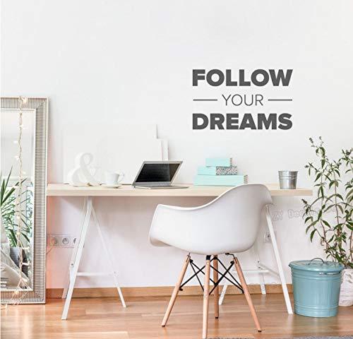 (WFYY Folgen Sie Ihren Träumen Zitate Wandaufkleber Kinder Schlafzimmer Home Interior Decor Abnehmbare Vinyl Inspiring Wandtattoo Zitat Office 56X34Cm)
