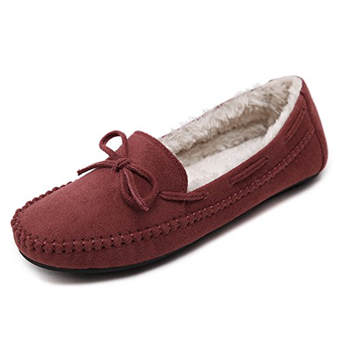 Damen Süß Schleife Flache Erbsenschuhe Warm Soft Gummi Sohle Hausschuhe mit Baumwoll Rot