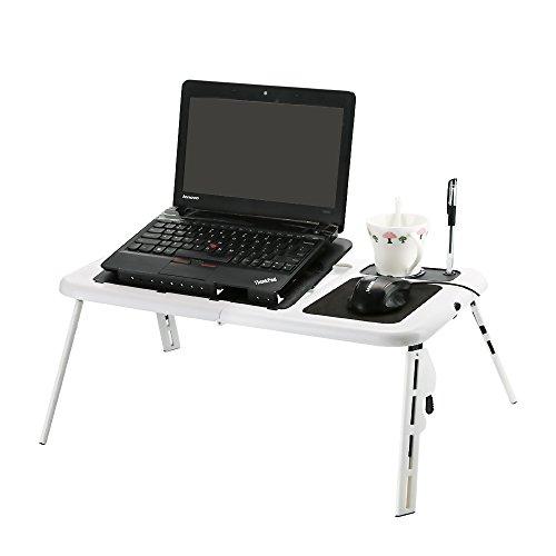 Portable pliable Table Bureau plateau de refroidissement pour ordinateur portable avec 2ventilateurs, Tapis de Souris et porte-gobelet/bureau pliable USB/porte-gobelet