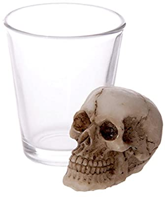 Glass Shot Glass with Skull Decoration