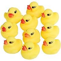 TRIXES Paquete de 10 Preciosos Mini Patos para Baño Chirriantes Amarillos
