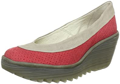 Fly London Women's Yoko Perf Comfort Wedge Loafers Red Rot (red/light grey/khaki 000) Size: 2.5