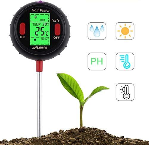 Bodentester, 5 in 1, Bodenfeuchtigkeitsmesser, Licht und pH Temperatur, Säurentester für Blumen, Gras, Pflanzen, Garten, Bauernhof, Rasen, Innen- und Außenbereich