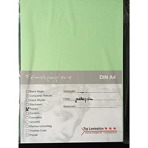 25fogli di carta DIN A3Jadegrün/verde pastello 90G/m² di Top Lamination–completamente colorata, possibile impiego: inviti, fogli supplementari per album, biglietti, Album fotografico di nozze, lavoretti e molto altro