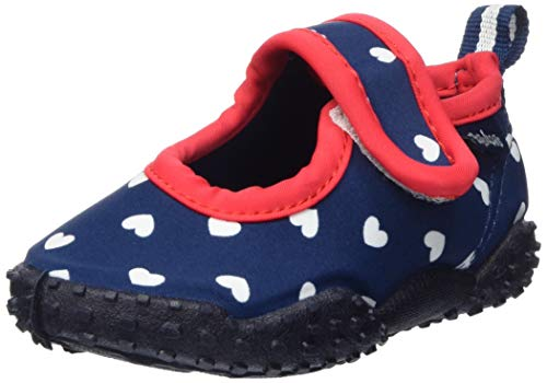 Playshoes Mädchen Badeschuhe mit UV-Schutz Herzchen Aqua Schuhe, Blau (Marine 11), 22/23 EU