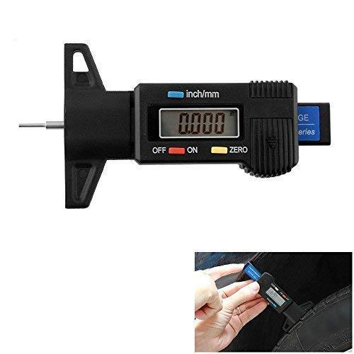 KOBWA Digital (pantalla LCD grande, medidor de profundidad del dibujo, neumáticos 0–25.4mm/mm ajustable profundidad de la banda de rodadura de medición herramienta moto coche Van Tyre
