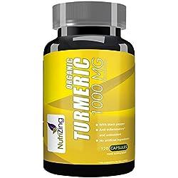 ★ Suplemento de cúrcuma orgánica de NutriZing ~ 120 cápsulas de acción rápida
