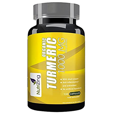 NutriZing's Organic Turmeric Supplement ~ 120 Fast Acting Capsules ~ Natural Curcumin Extract ~ Works Best To Reduce Inflammation and Relieve Joint Pain ~ Contains Organic Black Pepper To Boost Absorption & Increase Bioavailability ~ Superfood Rich In Anti-oxidants ~ For Vegetarians and Vegans ~ High Potency 1000mg ~ Soy & Gluten Free ~ For Men & Women