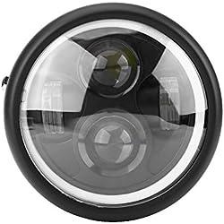 Elerose Phare de Phare de Moto de 6,5 Pouces Avec Anneau Lumineux LED (lumière blanche froide) Avec Boîtier en Aluminium et Ceinture de Lentille PC Universelle pour la Plupart des Motos