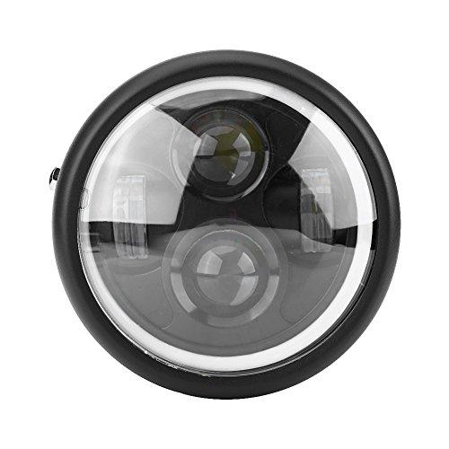 """Delaman Frontscheinwerfer LED Motorrad Scheinwerfer rund Frontscheinwerfer 16 cm/6,5"""" für Harley Sportster Cafe Racer Bobber, Kaltweiß"""