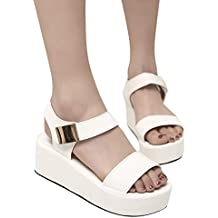 JiaMeng Moda Peep Toe Zapatos de Plataforma de cuña Casual Sandalias de Mujer Sandalias Mujer Cuña