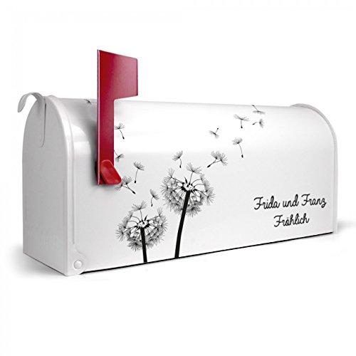BANJADO US Mailbox | Amerikanischer Briefkasten 51x22x17cm | Letterbox Stahl weiß | mit Motiv WT Pusteblume 2, Briefkasten:mit silbernem Standfuß