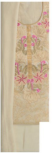 Suman Fasion Sarees Women's Chanderi Dress Material (Su000015_ Pink Cream