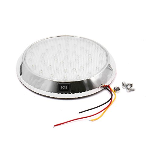 sourcingmap® DC 12V Auto Innenraum runde Kuppel Dach Decken weiße LED Schalter Licht Lampe (Auto Dach Lampe)