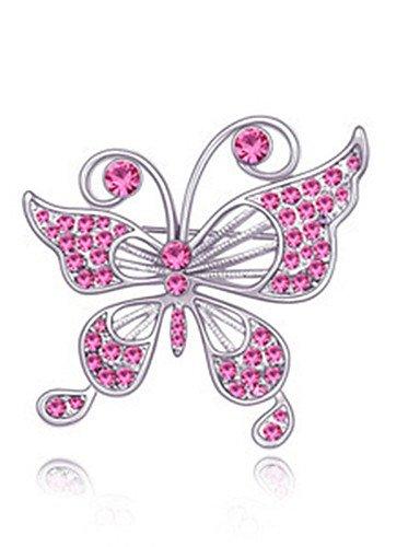 BMJQS hochwertigen Kristall Schmetterling Brosche für die Hochzeit Partei Dame , rose , one size (Mops Brosche)
