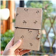 JxucTo Creativo Cuaderno personal de cuero de la PU Cuadernos y libretas de cuentas a mano Libros de papel para viajes a la escuela doméstica (Brown)