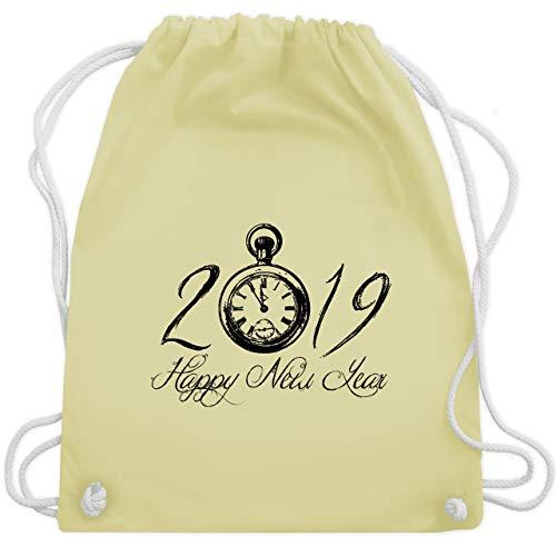 Weihnachten & Silvester - Happy New Year 2019 Uhr Vintage - Unisize - Pastell Gelb - WM110 - Turnbeutel & Gym Bag