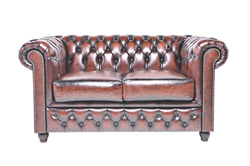 Chesterfield Showroom - Original Chesterfield Sofa / Couch - 1+2+3-Sitzer - Echtes Leder handgewischt - Antik-braun - 3