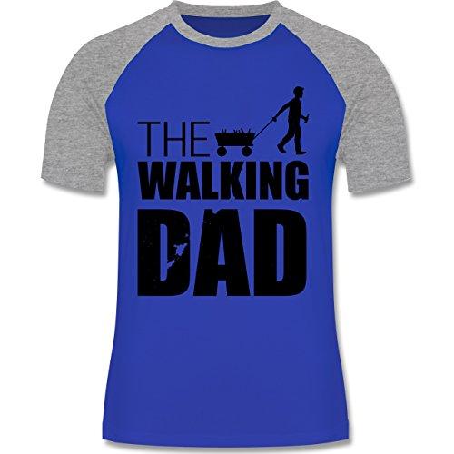 Vatertag - The Walking Dad - Vatertag - zweifarbiges Baseballshirt für Männer Royalblau/Grau meliert
