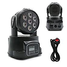 HaoTuo moving Head Stage Light, 7X8W RGBW LED Mini Moving Head lighting for Bars Disco hall Performance Places Sound Activated,Master-slave, Auto Running