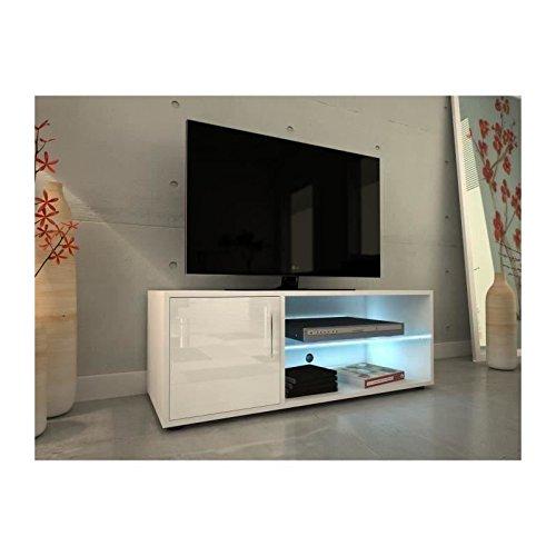 KORA Meuble TV avec éclairage LED contemporain laqué blanc - L 100 cm