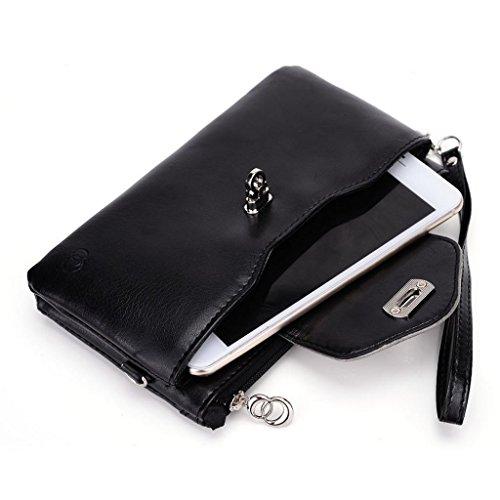Kroo Pochette Portefeuille en Cuir de Femme avec Bracelet Étui pour Prestigio MultiPhone 7600Duo Noir/gris Noir/gris