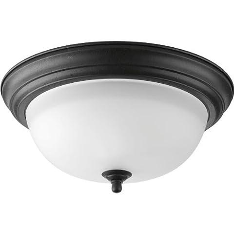 Progress Lighting P3925-80 2-Light Flush Mount with Etched Glass Bowl by Progress Lighting