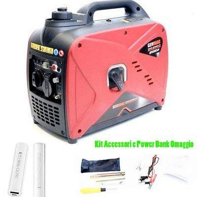 Generatore inverter gruppo elettrogeno super silenziato 1kw genmac gr1000in benzina 4 tempi accessori e power bank omaggio