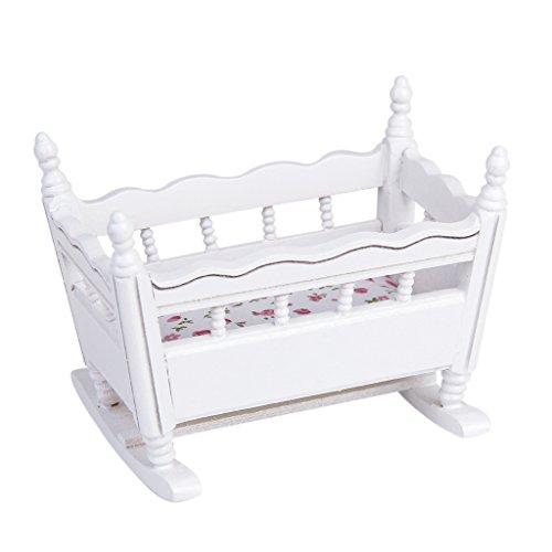 Wiegen Möbel (1/12 Puppenhaus Miniatur Weiß Holz Kindergarten Wiege Babybett)