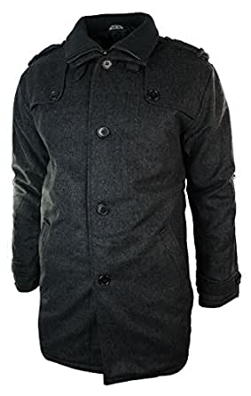veste 3 4 manteau homme style militaire laine pardessus gris style d contract chic hiver. Black Bedroom Furniture Sets. Home Design Ideas