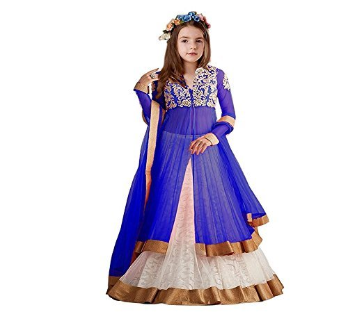CmDeal Blue & Pink Color Party Wear Semi-Stitched Embroidered Net Lehenga Choli With Heavy Designer Net Top-5637LABT169 blue koti  available at amazon for Rs.419