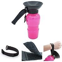 Bebé de alimentador de suministros para mascotas, taza de perro portátil de 20 onzas Taza de beber para mascotas al aire libre, botella de botella de agua de viaje para perros (Bottle -pink)