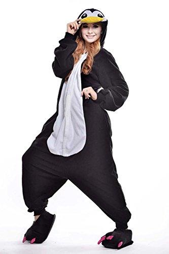 Venaster Cosplay Pyjamas, Schwarz Pinguin Erwachsene Unisex Animal Cosplay Overall Pajamas Anime Schlafanzug Jumpsuits Spielanzug Kostüme