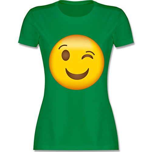 Shirtracer Comic Shirts - Zwinker Emoji - Damen T-Shirt Rundhals Grün