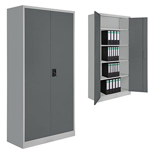 2er Set Spind Büroschrank Aktenschrank 180 x 90 x 39 cm Metallschrank Universalschrank mit 4 Einlegeböden, Höhe frei montierbar Ordnerschrank , Farbe:Grau-Dunkelgrau