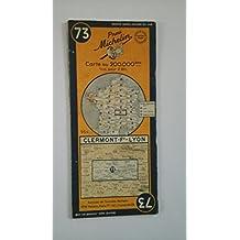 Ancienne Carte Michelin n° 73 : Clermont-Ferrand - Lyon. Carte au 200.000e. Numéro blanc dans un cercle bleu. Michelin et Cie, Clermont-Ferrand. 1950. (Carte Michelin, Loire, Puy-de-Dôme, Rhône, Creuse, Allier)