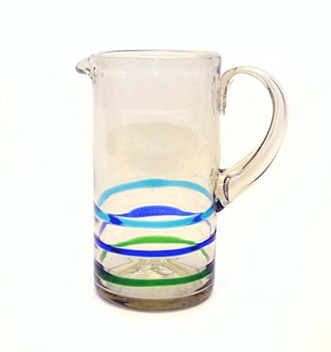 straight-pitcher-striped-with-three-lines-green-blue-and-turquoise-recycled-glass-80-ounces-handmade