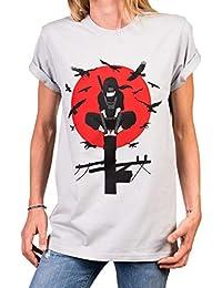 836ba58d6e7c MAKAYA Itachi Shirt Damen - Anime Top grau mit Aufdruck - Nerdy Oversize  Top große Größen
