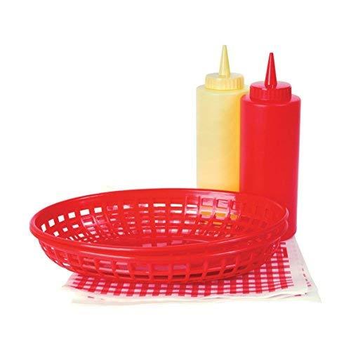 Invero® Style rétro Summer BBQ Chips Panier à condiments servir Nourriture Présentation Lot Comprend 2 x paniers, Ketchup Moutarde bouteilles de sauce et de 10 mouchoirs
