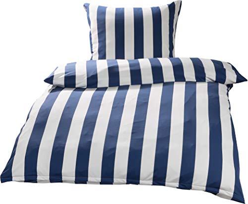 Bettwaesche-mit-Stil Mako Interlock Jersey Bettwäsche Streifen royal blau/weiß - 135x200 + 80x80 cm -