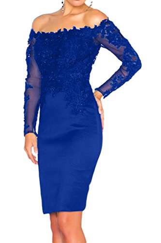 La_Marie Braut Schwarz Satin Spitze Langarm Abendkleider Partykleider Promkleider Schmaler Schnitt Oberhalb von knie Royal Blau