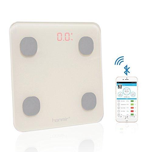 Pèse-personne Numérique Bluetooth Pèse-personne électronique 150kg/330lb Hanmir Balance Personne avec APP Intelligent Mesurer Poids Graisse Corporelle et Viscérale de Haute Précision Beige