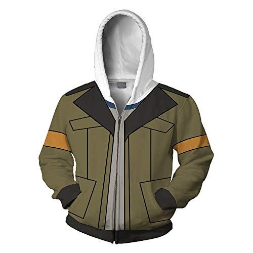 RJHWY 3D Hoodie Sweatshirt Unisex Pullover Kapuzenjacke Kleidung Mantel Reißverschluss Anime Top Voltron XXS